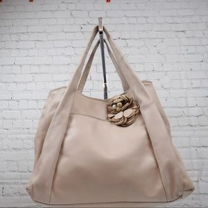 Ann Taylor nude leather tote w/ leather flower